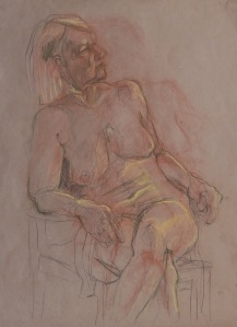 Seated nude,                      Conte on brown paper